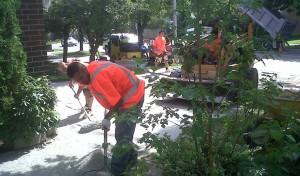 Workers Preparing for Interlocking Brick